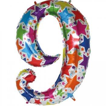 Ballon chiffre multicolore 9