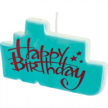 Bougie Happy Birthay Bleu Turquoise