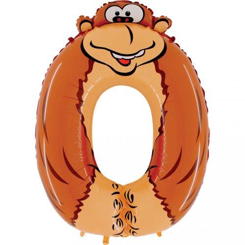 Ballon Animalon Géant Chiffre 0 - Singe