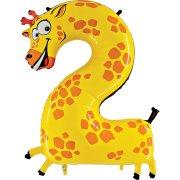 Ballon Animalon Géant Chiffre 2 - Girafe