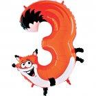 Ballon Animalon G�ant Chiffre 3 - Renard