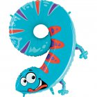 Ballon Animalon Géant Chiffre 9 - Gecko