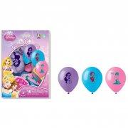 10 Ballons Princesse Disney Bleu/Rose/Violet