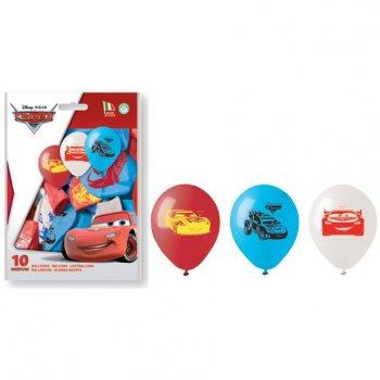 10 Ballons Cars Bleu/Blanc/Rouge