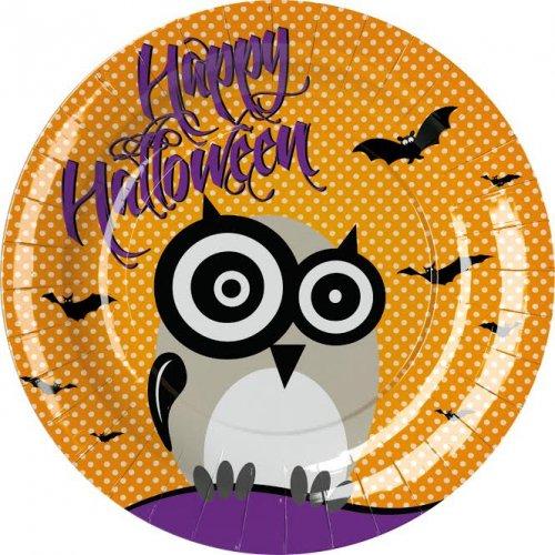 8 Assiettes Hibou Happy Halloween