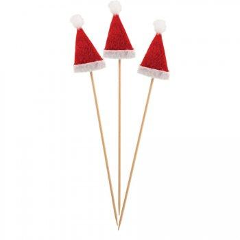 12 Longs Pics Bonnet Père Noël (18 cm)