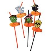 12 Pailles Halloween Citrouille et Compagnie