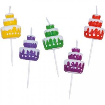 5 Mini Bougies Gâteaux Rainbow