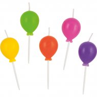 5 Mini Bougies Ballons Rainbow