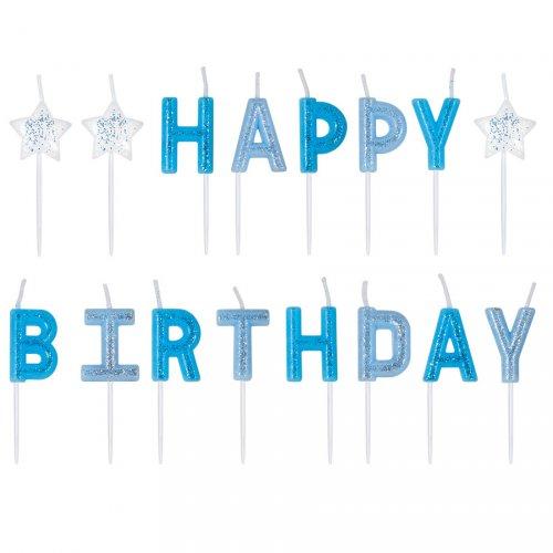 Bougies Happy Birthday Stars Bleu