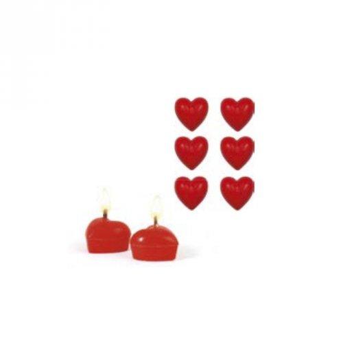6 Mini Bougies Coeur Rouge (3 cm)