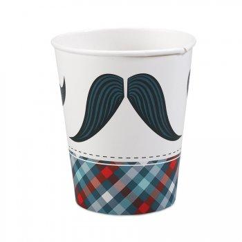 8 Gobelets Little Man Moustache