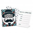 8 Invitations Little Man Moustache