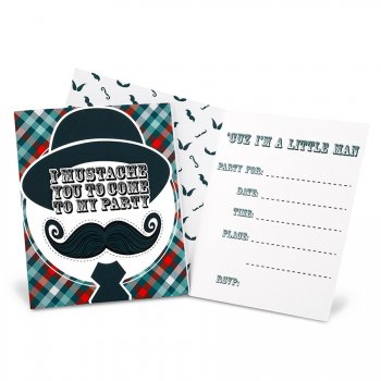 8 Invitations Little Man Moustache