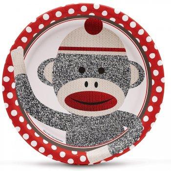 8 Assiettes Sock Monkey