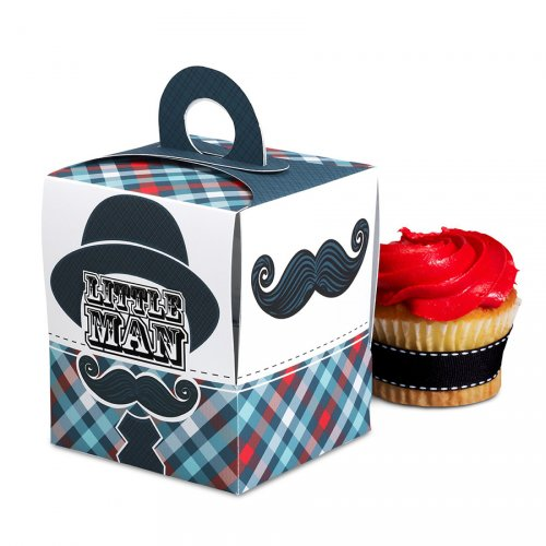 4 Boîtes à Cupcakes Little Man Moustache