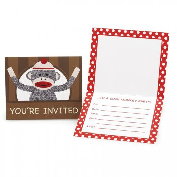 8 Invitations Sock Monkey