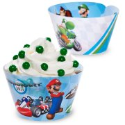 12 Wrappers à Cupcakes reversibles Mario Kart Wii