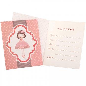 8 Invitations Petite Ballerine