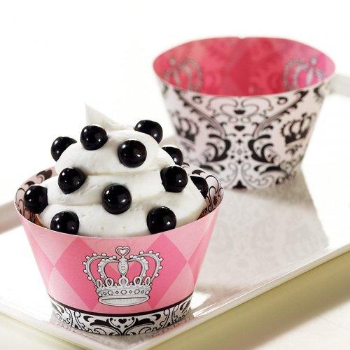 12 Wrappers à Cupcakes réversibles Princesse Élégance