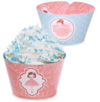 12 Wrappers à Cupcakes réversibles Petite Ballerine