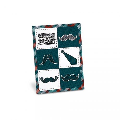 4 Planches de Stickers Little Man Moustache