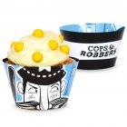 12 Wrappers Cupcakes réversibles Policiers et Voleurs