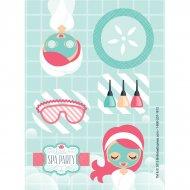 4 Planches de Stickers Little Spa Party