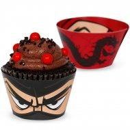 12 Wrappers à Cupcakes réversibles Ninja Party
