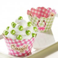 12 Wrappers à Cupcakes réversibles Cowgirl Rosie