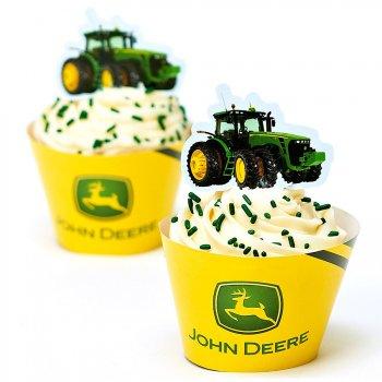 Kit 12 Wrappers et Déco Cupcakes John Deere