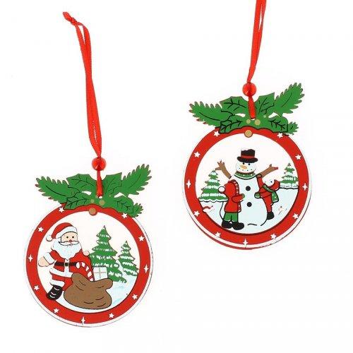 2 Suspensions Père Noël et Bonhomme (8 cm) - Bois