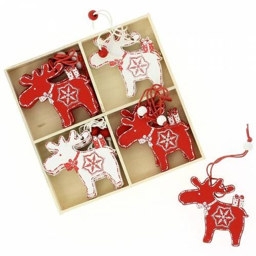 12 Suspensions Renne de Noël (6 cm) - Bois