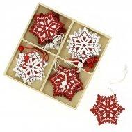 12 Suspensions Flocons de Noël (5,5 cm) - Bois
