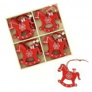 12 Petites Suspensions Cheval Rouge (6 cm) - Bois