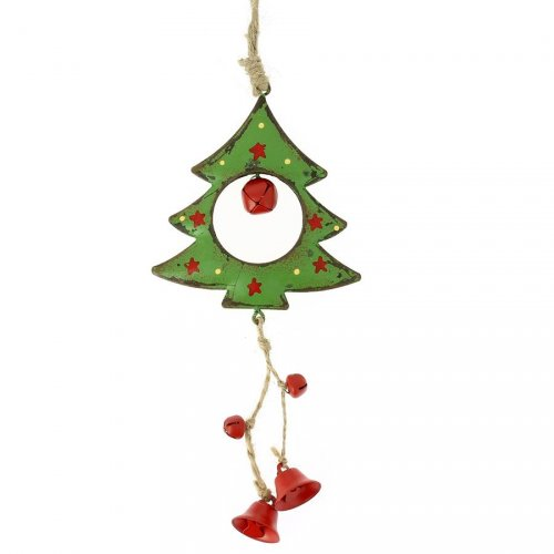Grande Suspension Sapin à clochettes (16 cm) - Métal