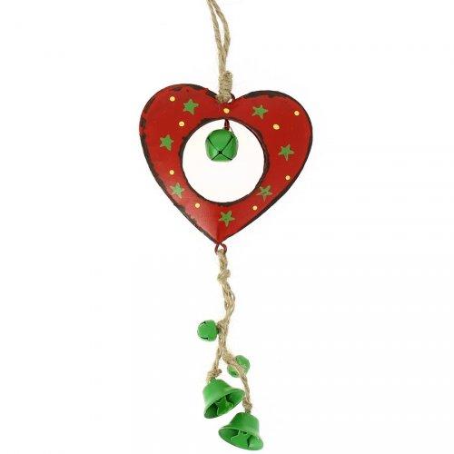 Grande Suspension Coeur à clochettes (16 cm) - Métal