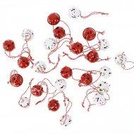 24 Minis Boules Grelots rouge et Blanc (2,5 cm) - Métal