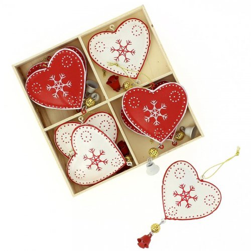 8 Suspensions Coeurs de Noël (10 cm) - Métal