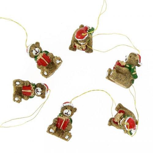 6 Mini Suspensions Ourson de Noël (3 cm) - Résine