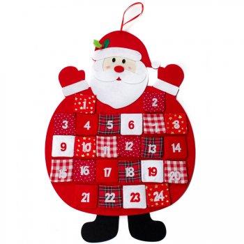 Calendrier de l Avent Père Noël (75 cm) - Feutrine
