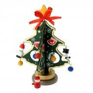 Petit Sapin de Table Vert 13 décors (15 cm) - Bois