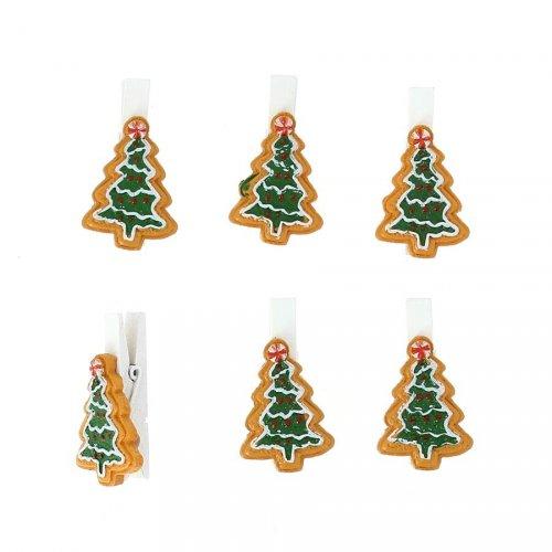 6 Pinces Sapin de Noël (3,5 cm) - Résine