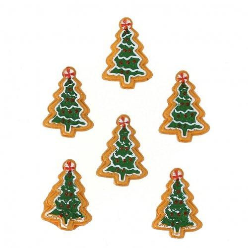 6 Mini Biscuits Sapins Autocollants (3,5 cm) - Résine