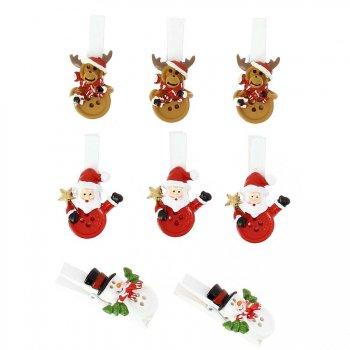8 Pinces Copains de Noël (4,5 cm) - Résine