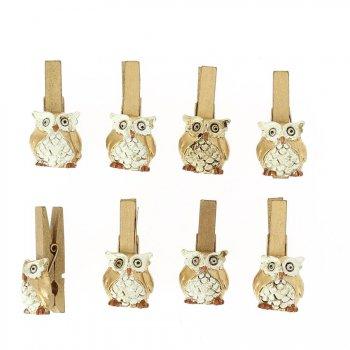 8 Pinces Hiboux Or (2,5 cm) - Résine