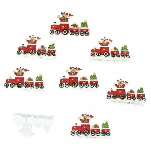 8 Pinces Train de Noël (4,5 cm) - Résine