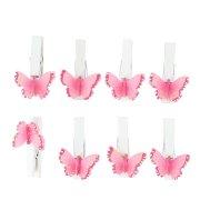 8 Pinces Papillons Roses (3 cm) - Bois
