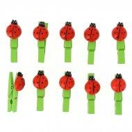 10 Pinces Coccinelles (2 cm) - Bois