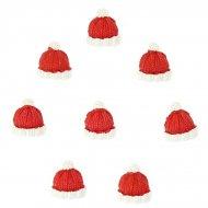 8 Mini Bonnets de Noël Autocollants (2,5 cm) - Résine